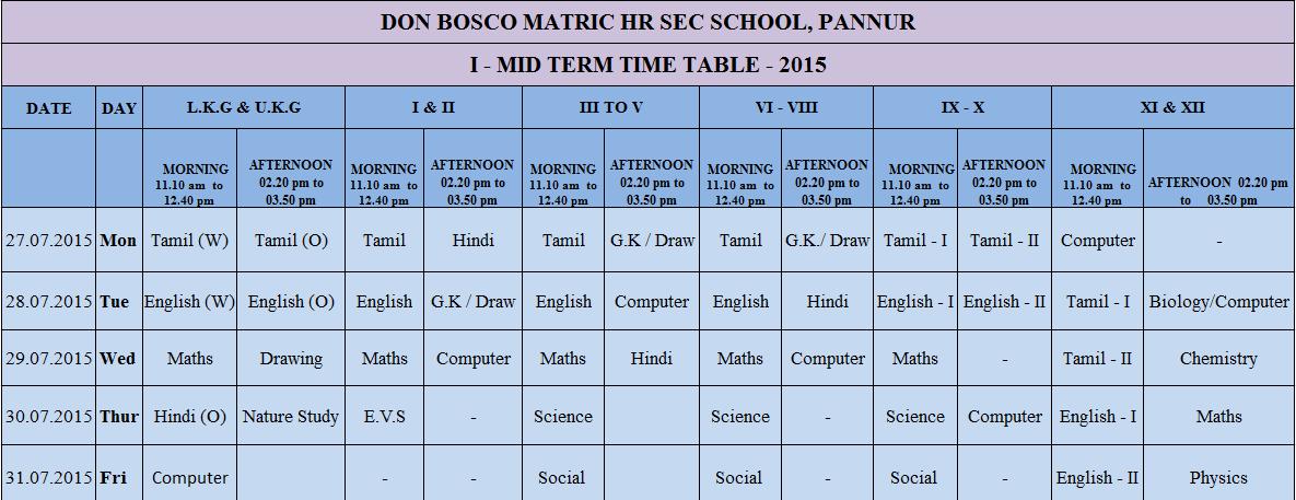 I mid term test time table don bosco matric hr sec for Tekerala org time table 2015