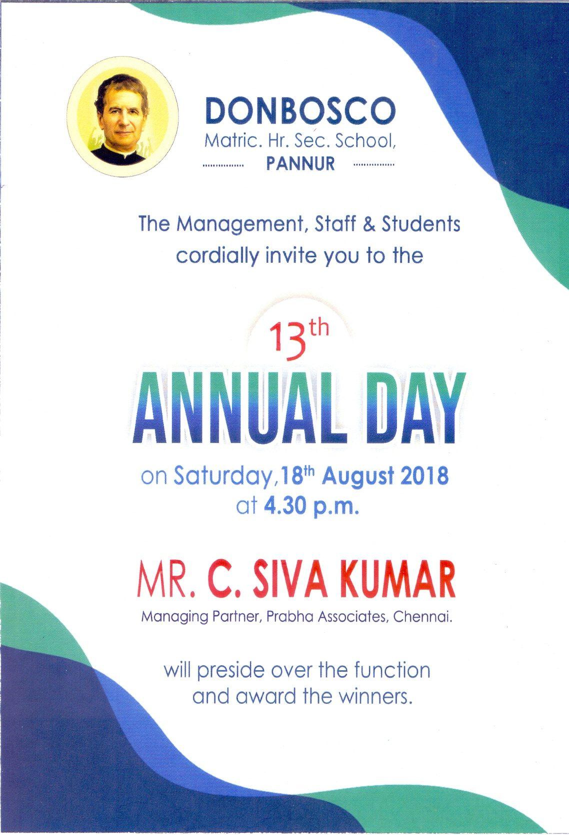 Annual Day Ivitation Card Don Bosco Matric Hr Sec School Pannur